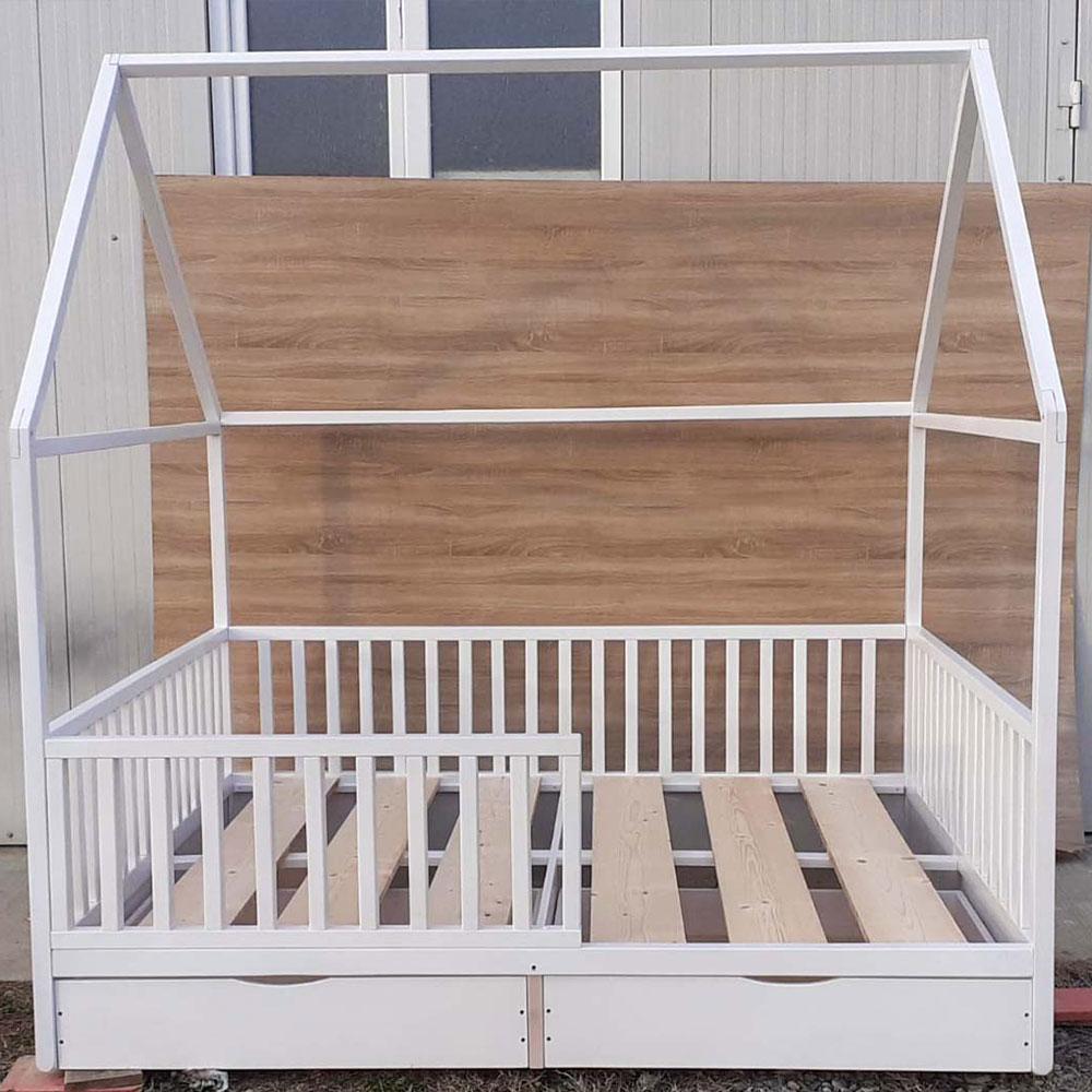 Patut din lemn masiv model casuta Montessori 160*200cm